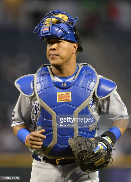 Salvador Perez of the Kansas City Royals looks on against the Chicago White Sox on April 25 2017 at Guaranteed Rate Field in Chicago Illinois The...