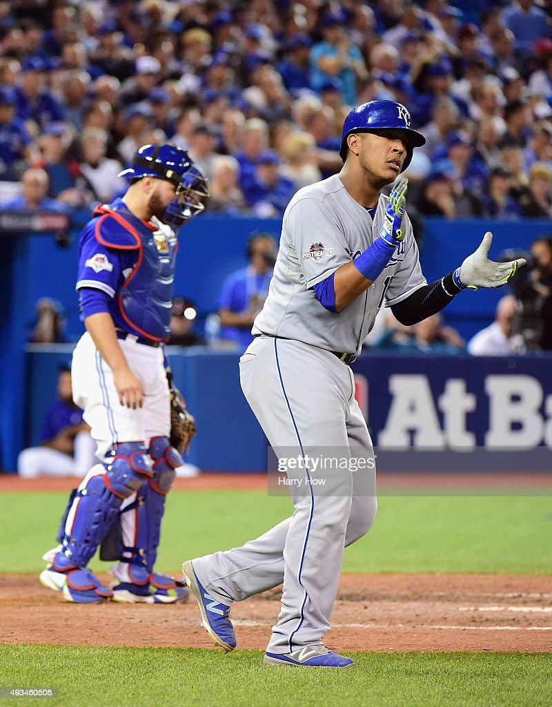 Salvador Perez #13 of the Kansas City Royals reacts after scoring a run in the seventh inning against the Toronto Blue Jays during game four of the American League Championship Series at Rogers Centre on October 20, 2015 in Toronto, Canada.