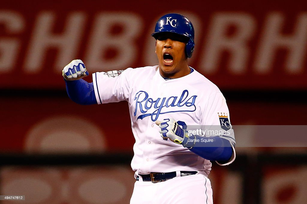 Salvador Perez #13 of the Kansas City Royals reacts in the eighth inning against the New York Mets in Game Two of the 2015 World Series at Kauffman Stadium on October 28, 2015 in Kansas City, Missouri.