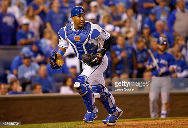 Salvador Perez of the Kansas City Royals runs after a wild pitch in the eighth inning against the Toronto Blue Jays in game six of the 2015 MLB...