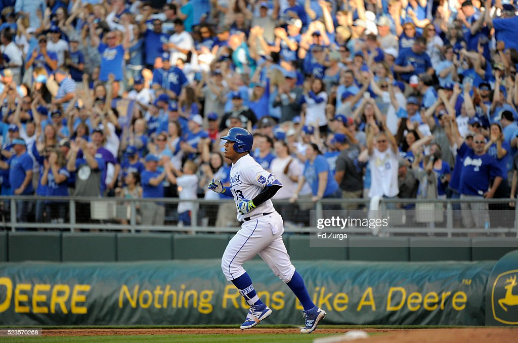 Salvador Perez #13 of the Kansas City Royals runs the bases after hitting a two-run home run in the second inning against the Baltimore Orioles at Kauffman Stadium on April 23, 2016 in Kansas City, Missouri.
