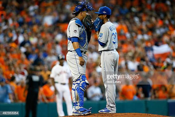 Salvador Perez of the Kansas City Royals speaks to pitcher Yordano Ventura in the fifth inning against the Houston Astros during game four of the...