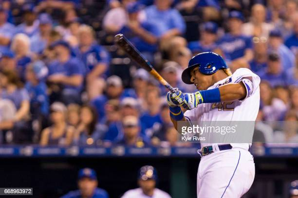 Salvador Perez of the Kansas City Royals strikes out on a Los Angeles Angels of Anaheim pitch in the sixth inning at Kauffman Stadium on April 15...