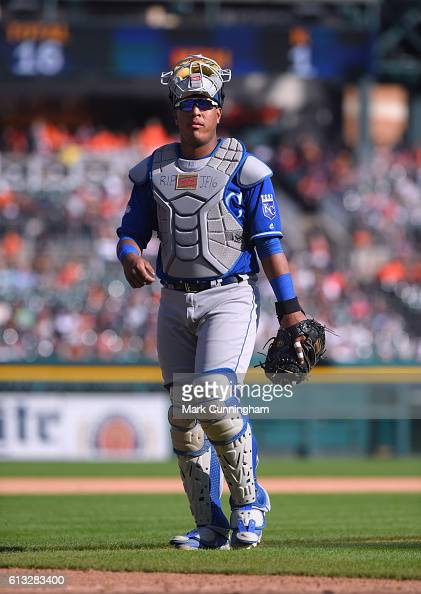 Salvador Perez of the Kansas City Royals wears RIP JF 16 in tribute to pitcher Jose Fernandez of the Miami Marlins who was killed early Sunday...