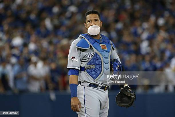 Salvador Perez waits for a new pitcher as the Blue Jays surge in the later innings The Toronto Blue Jays and the Kansas City Royals play game five of...