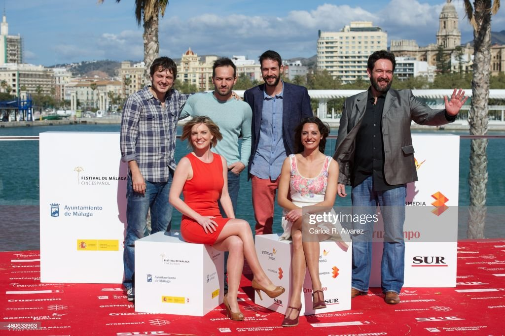 Salvador Reina, Hector Medina, Chico Garcia, director Enrique Garcia, Virginia DeMorata and Virgina Munoz attend the '321 Dias en Michigan' photocall during the 17th Malaga Film Festival 2014 - Day 6 on March 26, 2014 in Malaga, Spain.