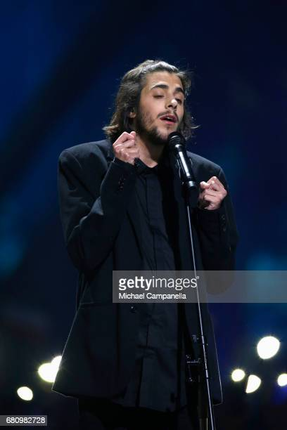 Salvador Sobral representing Portugal performs the song 'Amar Pelos Dois' during the first semi final of the 62nd Eurovision Song Contest at...
