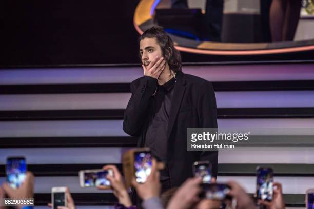 Salvador Sobral the contestant from Portugal after being announced as the winner at the Eurovision Grand Final on May 14 2017 in Kiev Ukraine Ukraine...