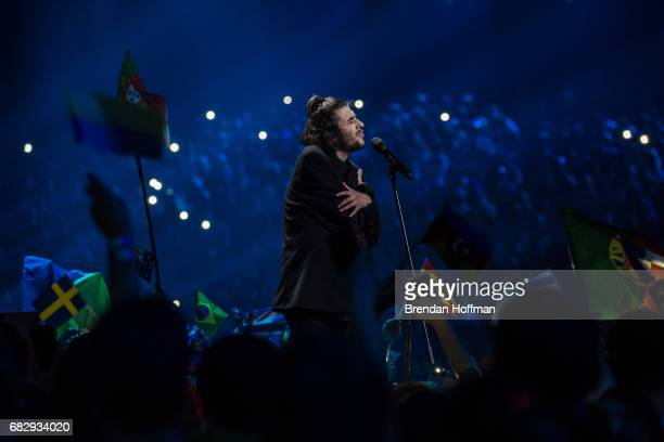 Salvador Sobral the contestant from Portugal and ultimate winner of the competition performs at the Eurovision Grand Final on May 13 2017 in Kiev...