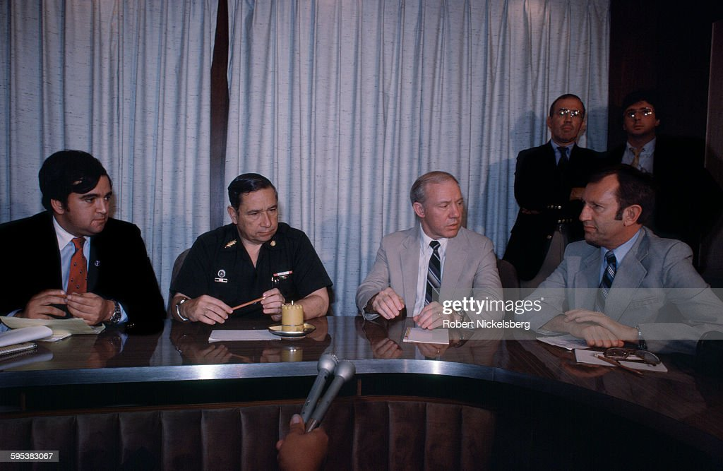 Salvadoran Defense Minister General Jose Guillermo Garcia (second left), along with members of a US Congressional delegation, speak to at a press conference San Salvador, El Salvador, March 1, 1983. The conference was to address the Salvadoran Air Force's admission that it used napalm (purchased from Israel) during the country's ongoing Civil War. Pictured are, from left, politician <a gi-track='captionPersonalityLinkClicked' href=/galleries/search?phrase=Bill+Richardson&family=editorial&specificpeople=213321 ng-click='$event.stopPropagation()'>Bill Richardson</a>, Garcia, and politicians Jim Oberstar (1934 - 2014) and <a gi-track='captionPersonalityLinkClicked' href=/galleries/search?phrase=James+Jeffords&family=editorial&specificpeople=217468 ng-click='$event.stopPropagation()'>James Jeffords</a> (1934 - 2014). At the time, the country was engaged in what became a 13-year Civil War between successive right-wing governments (backed by the US and others) and various armed guerrilla factions that eventually claimed over 75,000 lives before ending in 1992.