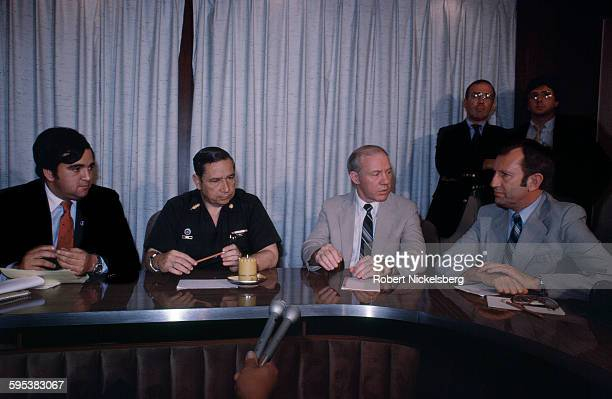 Salvadoran Defense Minister General Jose Guillermo Garcia along with members of a US Congressional delegation speak to at a press conference San...