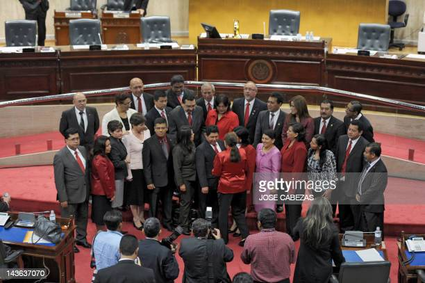 Salvadorean Congress members pose for a picture during the inauguration of the new Congress in The Legislative Palace in San Salvador El Salvador on...