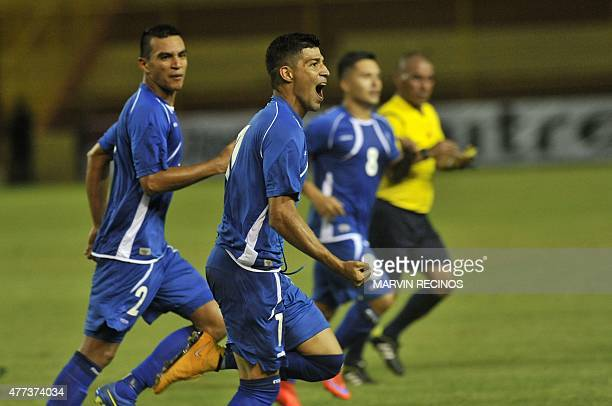Salvadorean player Nelson Bonilla celebrates after scoring against St Kitts and Nevis during a CONCACAF qualifying match for the Russia 2018 FIFA...