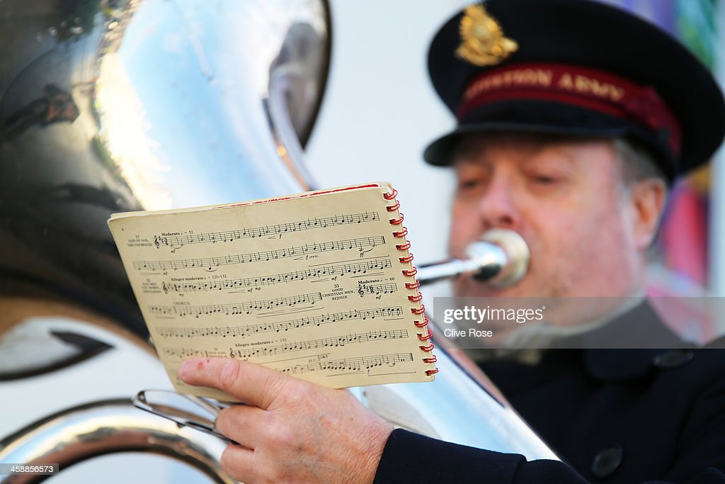 Salvation Army band plays prior to kickoff during the Barclays Premier League match between Swansea City and Everton at the Liberty Stadium on...