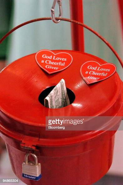 Salvation Army donation kettle is seen on the first day of collections during the holiday season at the Quaker Bridge Mall in Lawrenceville New...