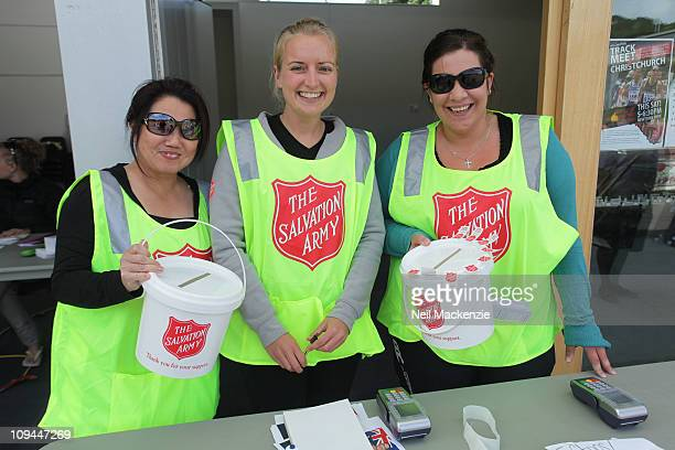 Salvation Army volunteers collect donations to the Earthquake Appeal during the Christchurch Fundraising Athletics Night at Newtown Park on February...