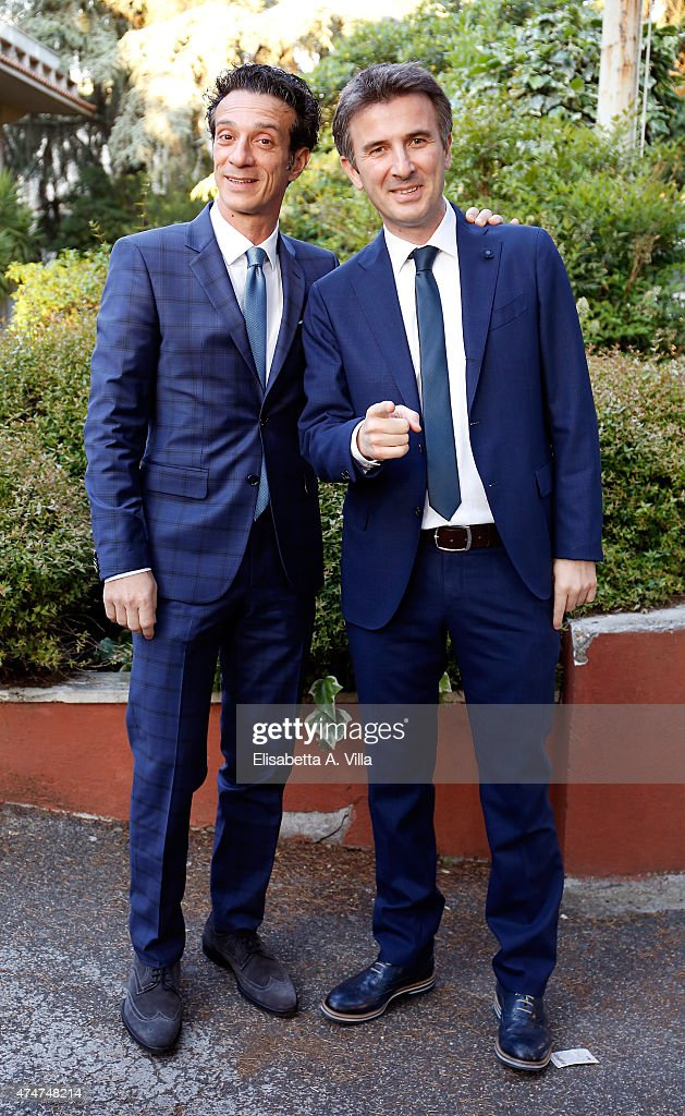 Salvatore Ficarra (L) and Valentino Picone arrive at PREMIO TV 2015 Awards at RAI Dear Studios on May 25, 2015 in Rome, Italy.