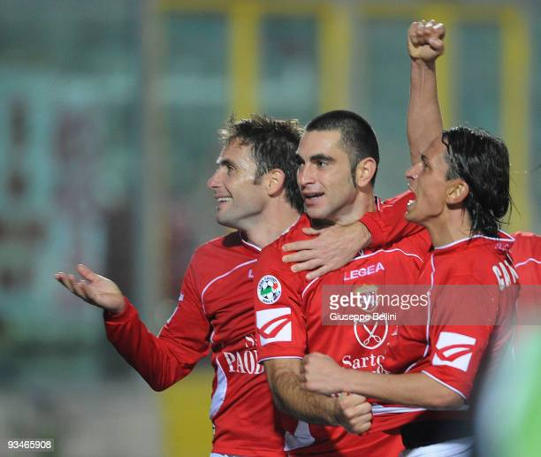 Salvatore Mastronunzio of AC Ancona celebrates with teammates after scoring during the Serie B match between Ancona and Sassuolo at Del Conero...