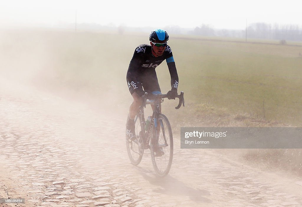Salvatore Puccio of Italy and SKY Procycling in action on the cobbles of 2013 Paris - Roubaix race from Compiegne to Roubaix on April 7, 2013 in Roubaix, France. The 111th Paris - Roubaix race is 254km long and contains 27 sections of cobblestones.