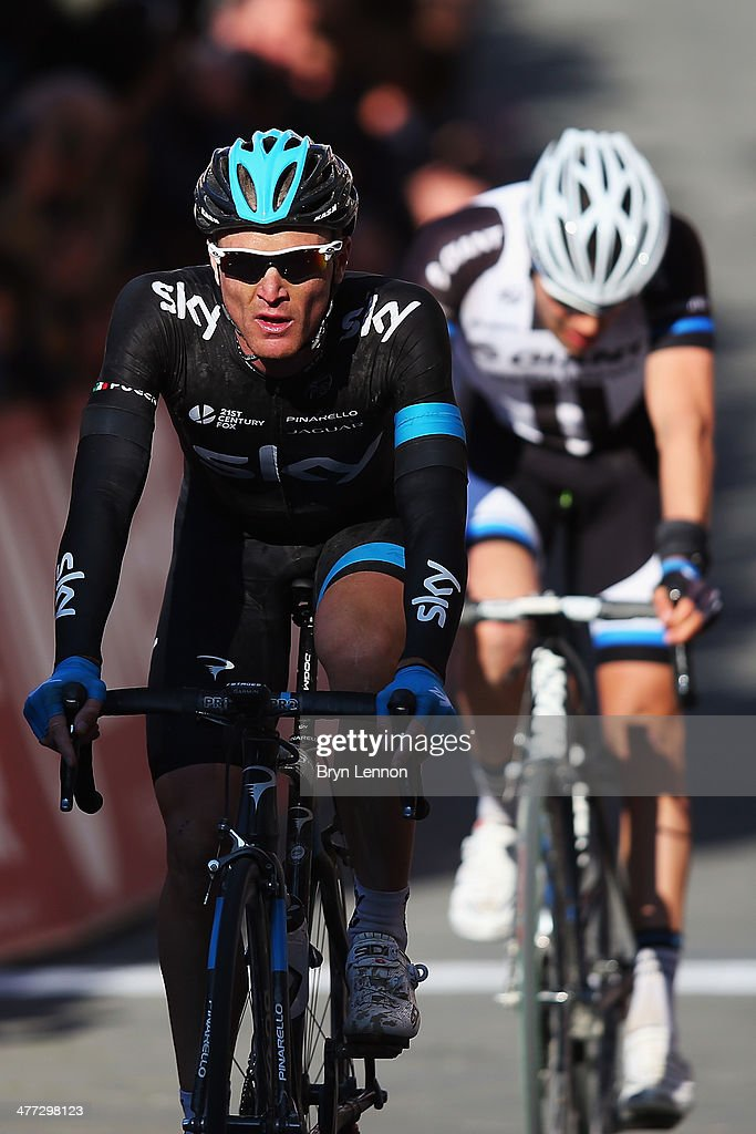 <a gi-track='captionPersonalityLinkClicked' href=/galleries/search?phrase=Salvatore+Puccio&family=editorial&specificpeople=8769900 ng-click='$event.stopPropagation()'>Salvatore Puccio</a> of Italy and Team SKY crosses the finishline during the 2014 Strade Bianchi from to San Gimignano to Siena ll Campo on March 8, 2014 in Siena, Italy.