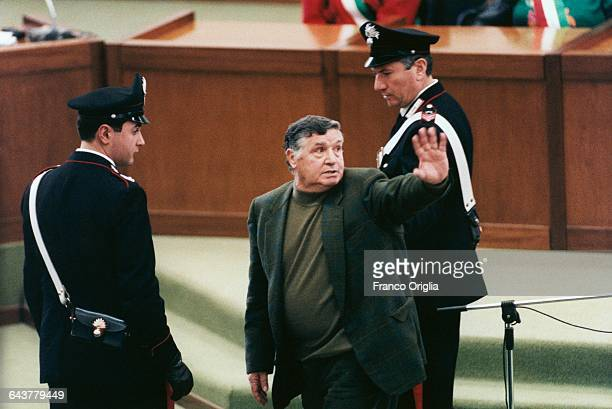 Salvatore Riina aka Toto Riina the most important figure of the Sicilian mafia is brought to justice after evading police for 23 years at the Aula...