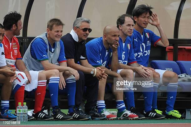 Salvatore Schillaci Angelo Colombo Roberto Baggio Luigi Di Biagio Franco Baresi and Kazuyoshi Miura look on during the JLeague Legend and Glorie...