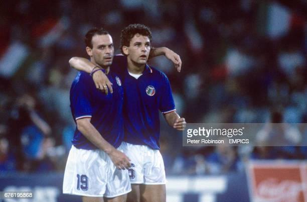 Salvatore Schillaci Italy left and Roberto Baggio