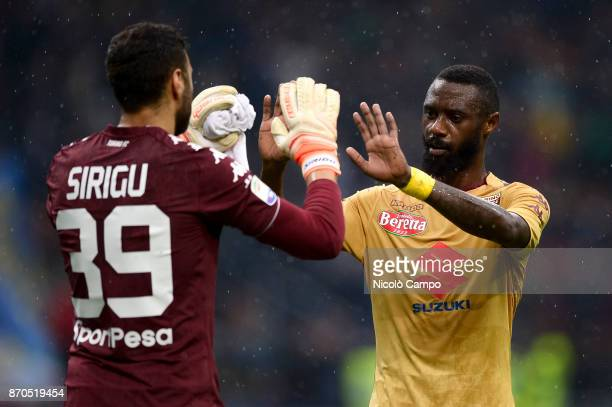 Salvatore Sirigu and Nicolas Nkoulou of Torino FC celebrate at the end of the Serie A football match between FC Internazionale and Torino FC The...
