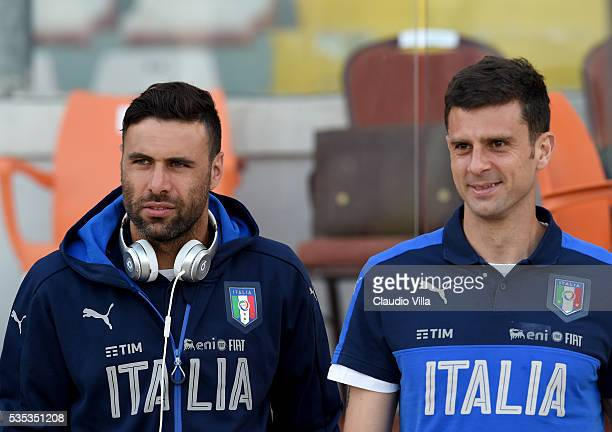 Salvatore Sirigu and Thiago Motta of Italy attend prior to the international friendly between Italy and Scotland at Ta Qali Stadium on May 29 2016 in...