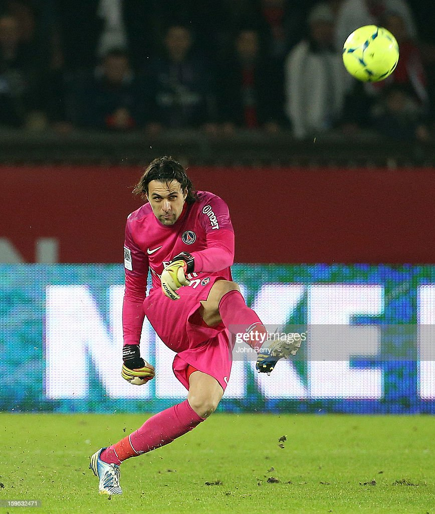 Salvatore Sirigu, goalkeeper of PSG in action during the French Ligue 1 match between Paris Saint Germain FC and AC Ajaccio at the Parc des Princes stadium on January 11, 2013 in Paris, France.