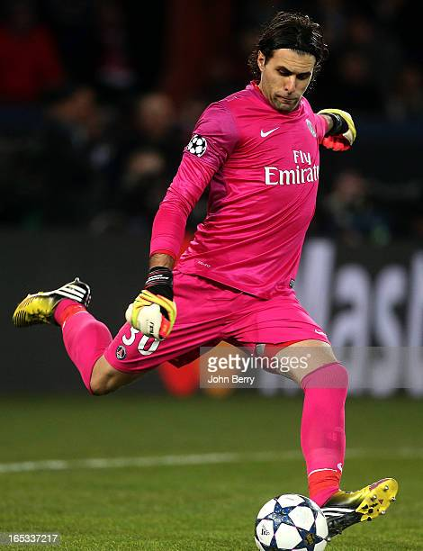 Salvatore Sirigu goalkeeper of PSG in action during the UEFA Champions League Quarter Final match between Paris SaintGermain FC and FC Barcelona at...