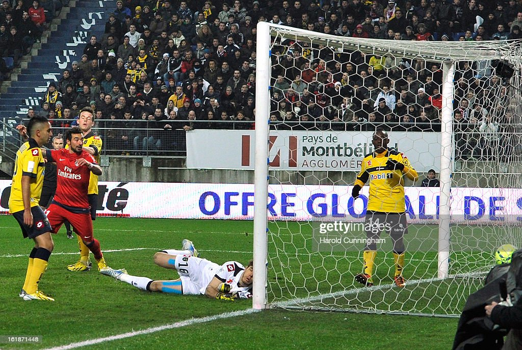 Salvatore Sirigu of FC Sochaux-Montbeliard misses the ball during the French League 1 football match between FC Sochaux-Montbeliard and Paris Saint-Germain FC at Stade Auguste Bonal on February 17, 2013 in Montbeliard, France.