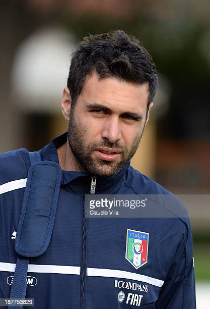 Salvatore Sirigu of Italy attends a training session ahead of their international friendly match against Germany at Coverciano on November 12 2013 in...