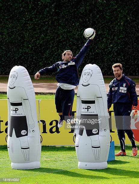 Salvatore Sirigu of Italy during a training session at Coverciano on November 8 2011 in Florence Italy