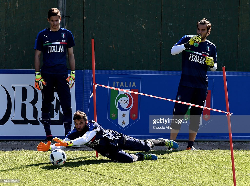 <a gi-track='captionPersonalityLinkClicked' href=/galleries/search?phrase=Salvatore+Sirigu&family=editorial&specificpeople=5969515 ng-click='$event.stopPropagation()'>Salvatore Sirigu</a> of Italy in action during the Italy training session at the club's training ground at Coverciano on May 24, 2016 in Florence, Italy.