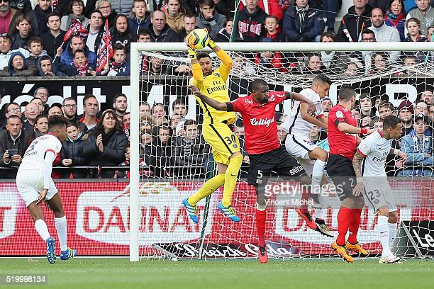 Salvatore Sirigu of Paris SaintGermain during the French League 1 match between EA Guingamp and Paris SaintGermain on April 9 2016 in Guingamp France