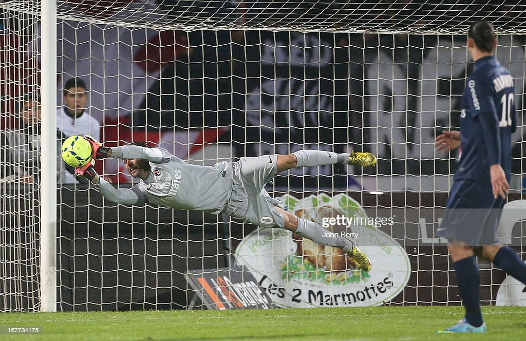 <a gi-track='captionPersonalityLinkClicked' href=/galleries/search?phrase=Salvatore+Sirigu&family=editorial&specificpeople=5969515 ng-click='$event.stopPropagation()'>Salvatore Sirigu</a> of PSG in action during the Ligue 1 match between Evian Thonon Gaillard FC, ETG, and Paris Saint Germain FC, PSG, at the Parc des Sports d'Annecy on April 28, 2013 in Annecy, France.