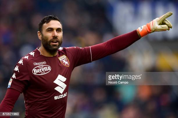 Salvatore Sirigu of Torino FC gestures during the Serie A football match between FC Internazionale and Torino FC The match ended in a 11 tie