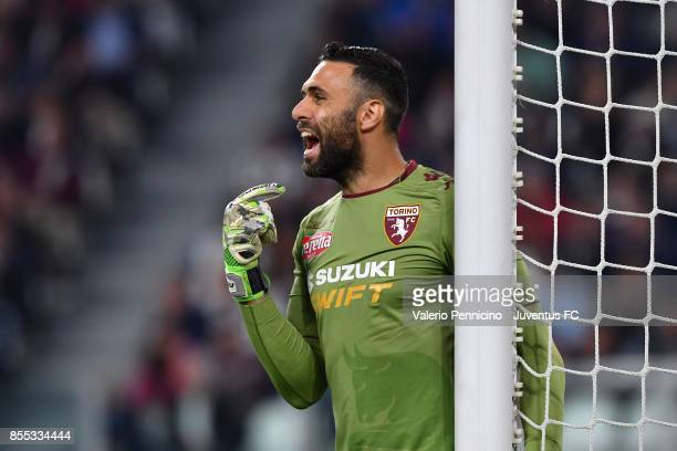 Salvatore Sirigu of Torino FC issues instructions during the Serie A match between Juventus and Torino FC on September 23 2017 in Turin Italy