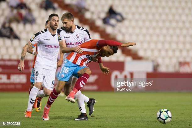 Salveljich and Cristian Herrera during the La Liga second league match between Albacete Balompié and Club deportivo Lugo at Carlos Belmonte stadium...