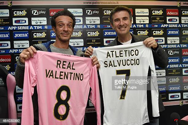 Salvo Ficarra and Valentino Picone pose during a US Citta di Palermo press conference at stadio Renzo Barbera on February 21 2015 in Palermo Italy