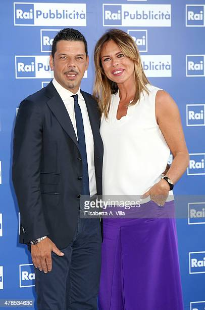Salvo Sottile and Paola Perego attend RAI Yearly TV Show Schedule at Villa Piccolomini on June 25 2015 in Rome Italy