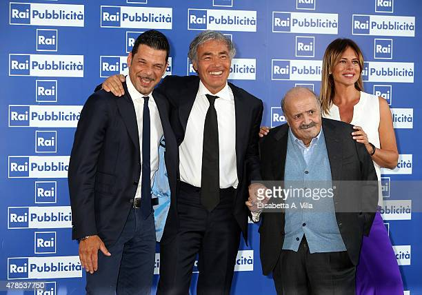 Salvo Sottile Massimo Giletti Maurizio Costanzo and Paola Perego attend RAI Yearly TV Show Schedule at Villa Piccolomini on June 25 2015 in Rome Italy