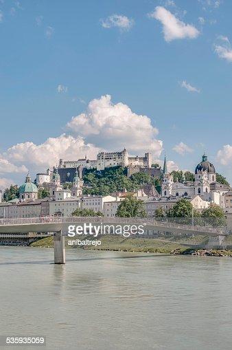 Salzach river on its way through Salzburg, Austria : Stock Photo