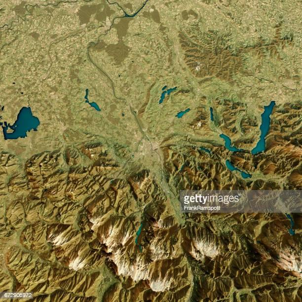 Salzburg 3D-Render Sat-topographische Karte anzeigen