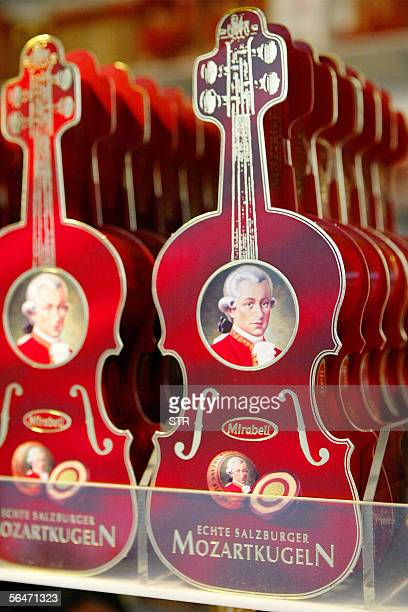 Picture taken 20 December 2005 shows chocolate boxes featuring Wolfgang Amadeus Mozart chocolates in a Salzburg shop Austria The city will celebrate...