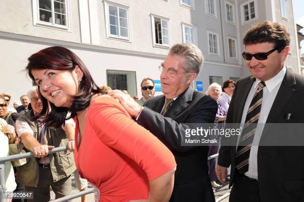 Salzburg Governor Gabi Burgstaller and Austrian Federal President Heinz Fischer attend the opening reception during the Salzburg Festival at...