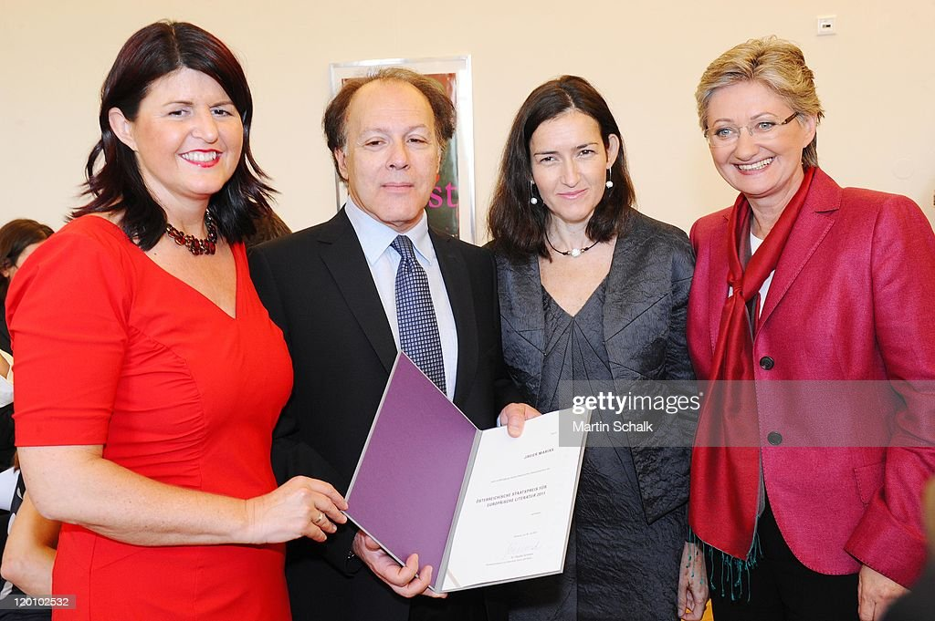 Salzburg Governor Gabi Burgstaller author Javier Marias Spanish culture secretary Angeles GonzalezSinde and Austrian culture secretary Claudia...