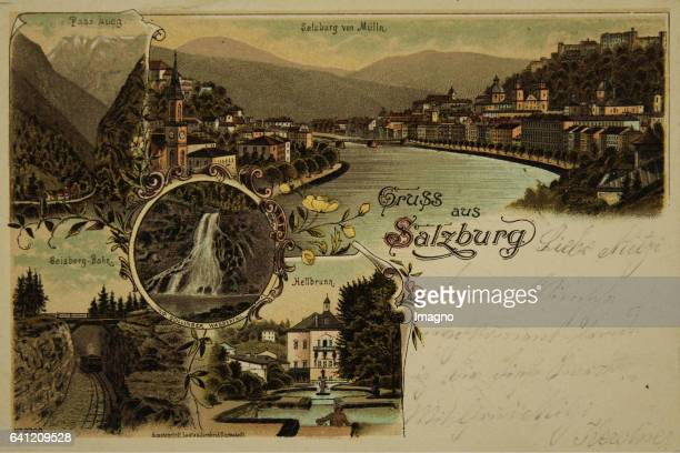 Salzburg Greeting card from Salzburg [with five views of Salzburg from Mülln Pass Lueg Gaisberg train Golling Waterfall Hellbrunn] 1899 Colour...