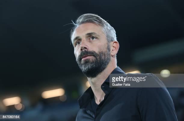 Salzburg head coach Marco Rose from Germany before the start of the UEFA Europa League match between Vitoria de Guimaraes and RB Salzburg at Estadio...